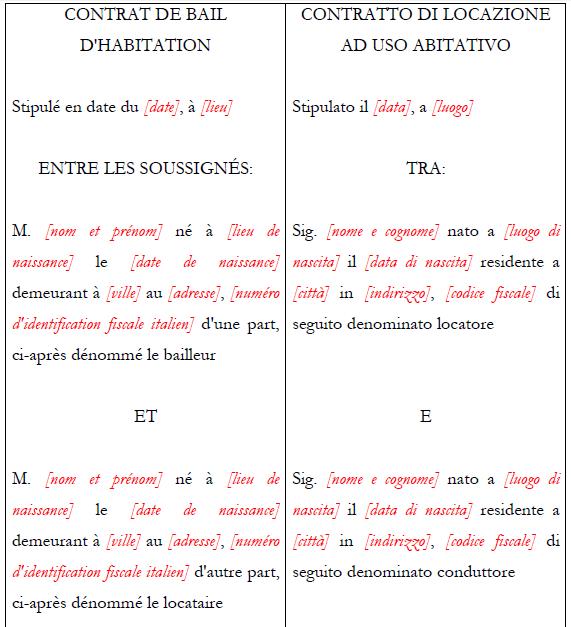 Contratto di locazione bilingue ita fra multiforms - Contratto di donazione immobile ...