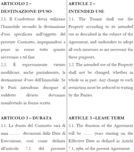 Contratto di locazione commerciale italiano inglese multilex for Contratto di locazione arredato