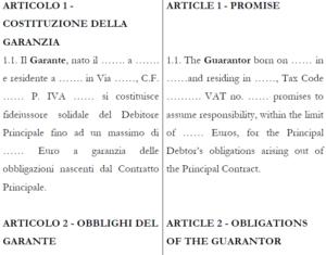 Estratto del Contratto di Fideiussione ITALIANO INGLESE della collana MultiForms